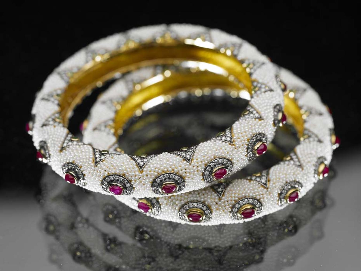 Moksh Taantvi collection bangles set with rubies, brilliant-cut diamonds and fine Japanese keshi pearls.