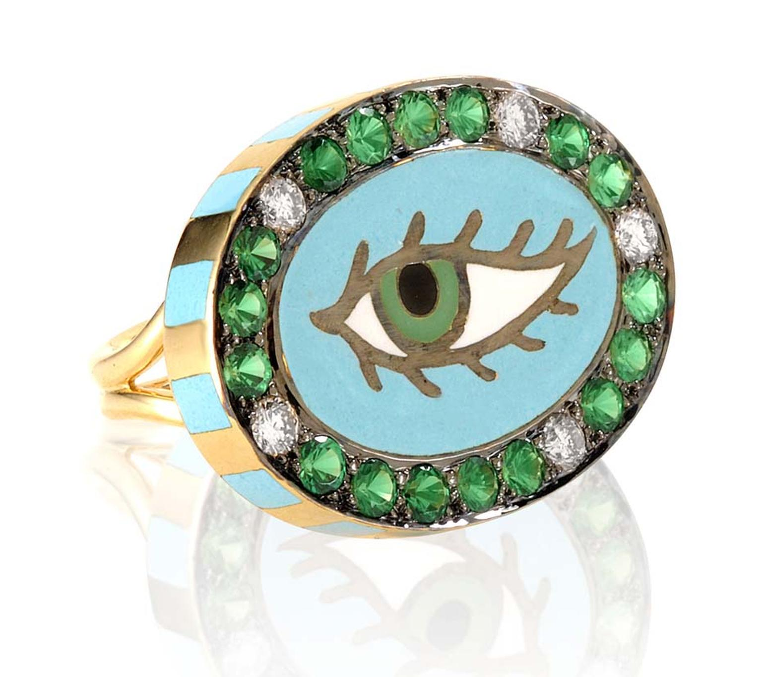 Holly Dyment Green Eye ring featuring vibrant enamelwork, diamonds and coloured stones.