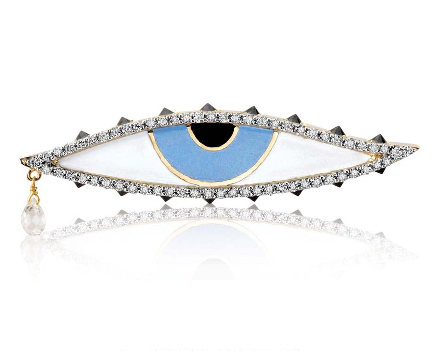 Holly Dyment Teary Eye ring featuring enamelwork, diamonds and a charm hanging from the tear duct.