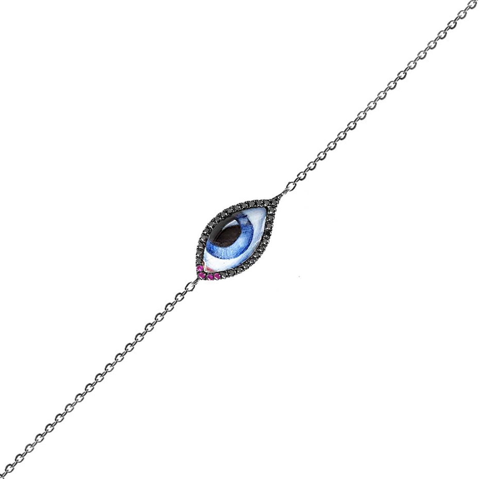 Lito Tu Es Partout bracelet featuring a blue enamelled eye and black diamonds.