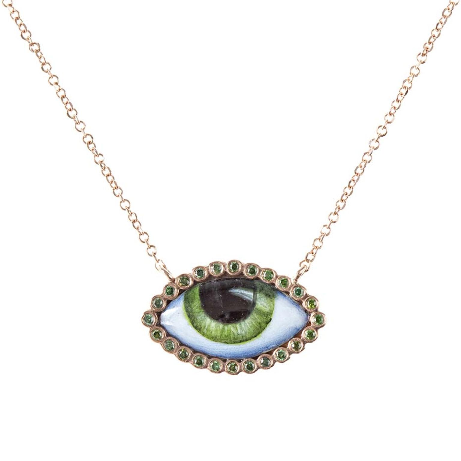 Lito Tu Es Partout pink gold necklace featuring a green enamelled eye surrounded by green diamonds.