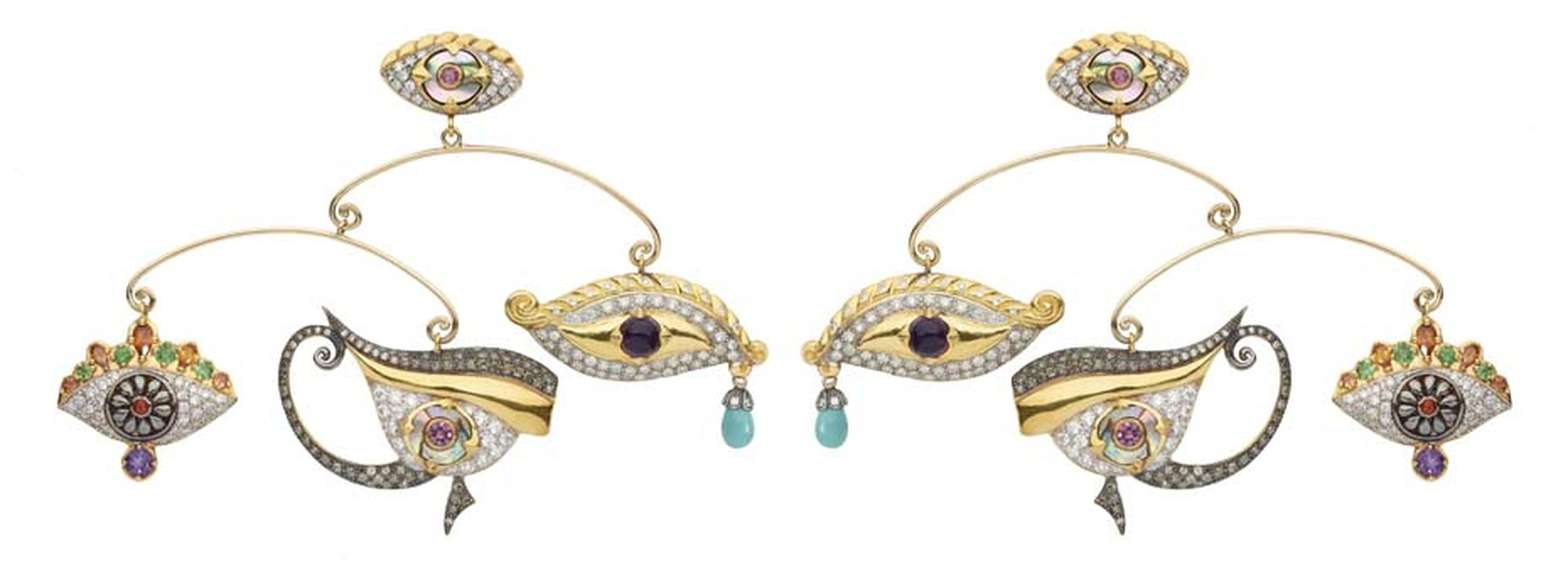 Sylvie Corbelin Fascination collection mobile earrings featuring three gem-encrusted eyes suspended from a central stud, also in the shape of an eye.