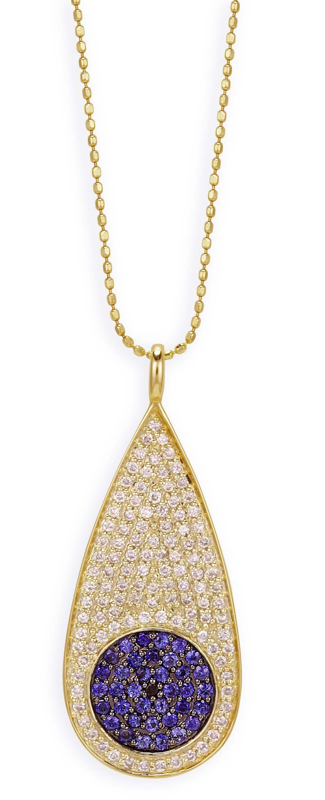 Sydney Evan yellow gold Teardrop Evil Eye necklace featuring pavé blue sapphires and diamonds.