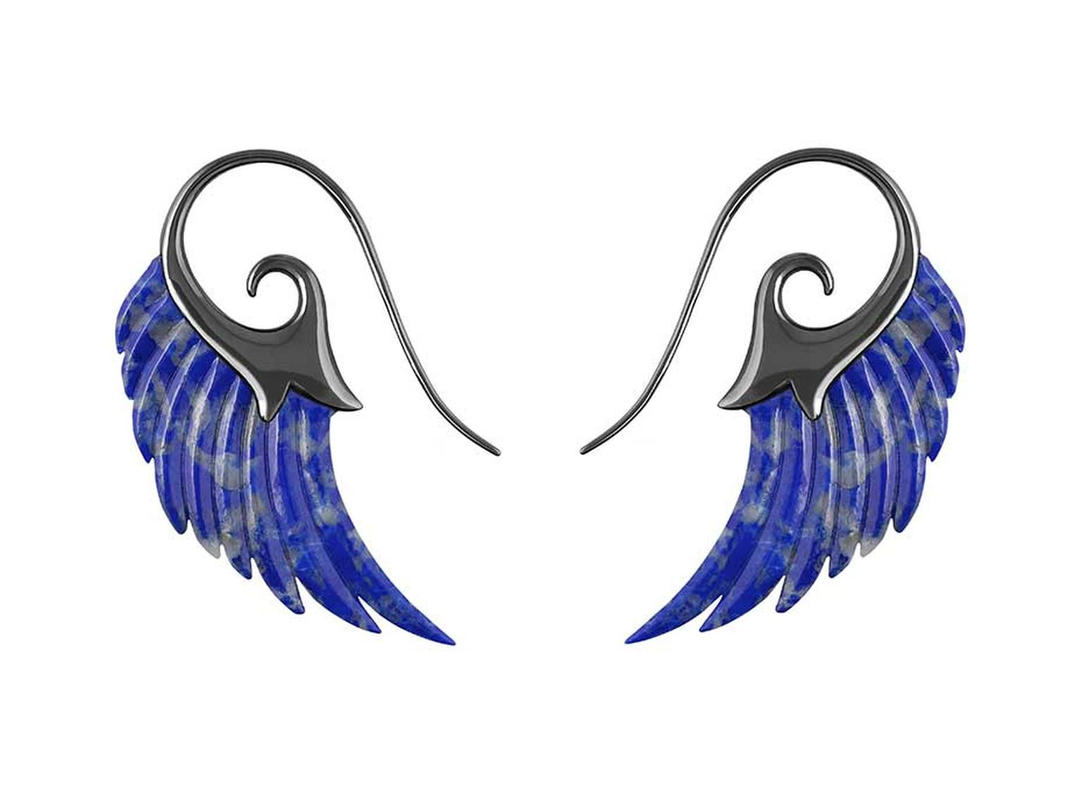 Noor Fares lapis lazuli Wing earrings with blue rhodium finish gold.