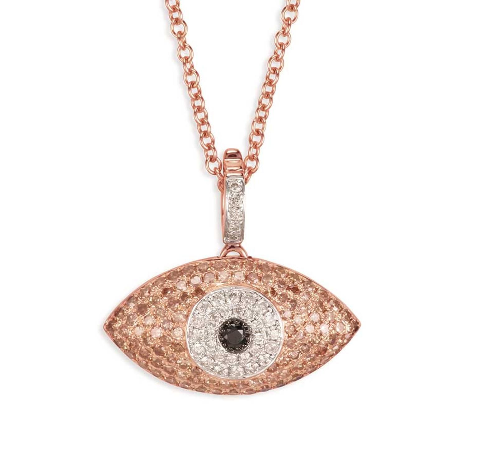 Sydney Evan Puffy Evil Eye necklace in rose gold with pavé champagne, black and white diamonds.