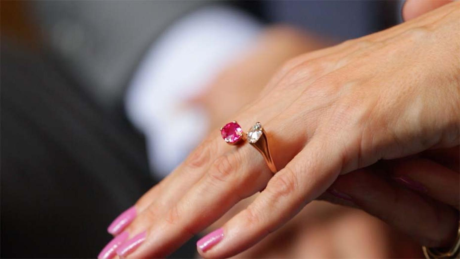 Maria Doulton models a ruby and diamond ring by Alexandre Reza.