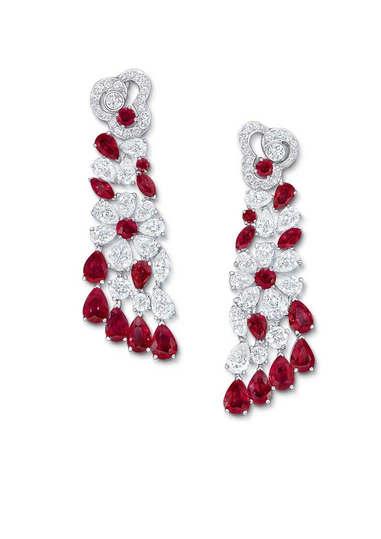 A pair of earrings set with pigeon's blood Burmese rubies and diamonds completes the La Biennale suite, created by Graff for the Biennale des Antiquaires 2014.