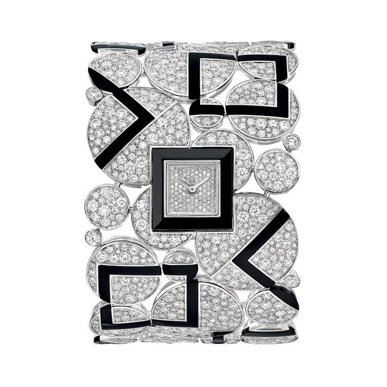 Chanel Café Society Bubbles high jewellery watch featuring diamond circles juxtaposed with geometric onyx shapes.