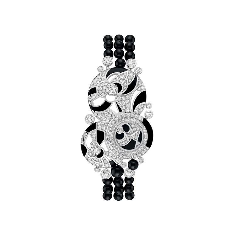 Chanel Café Society Midnight watch with onyx beads and onyx paired with brilliant-cut diamonds to make swirling patterns.