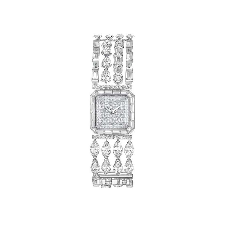 Chanel Café Society Symphony watch featuring fancy-cut diamonds with brilliant and baguette-cut diamonds.