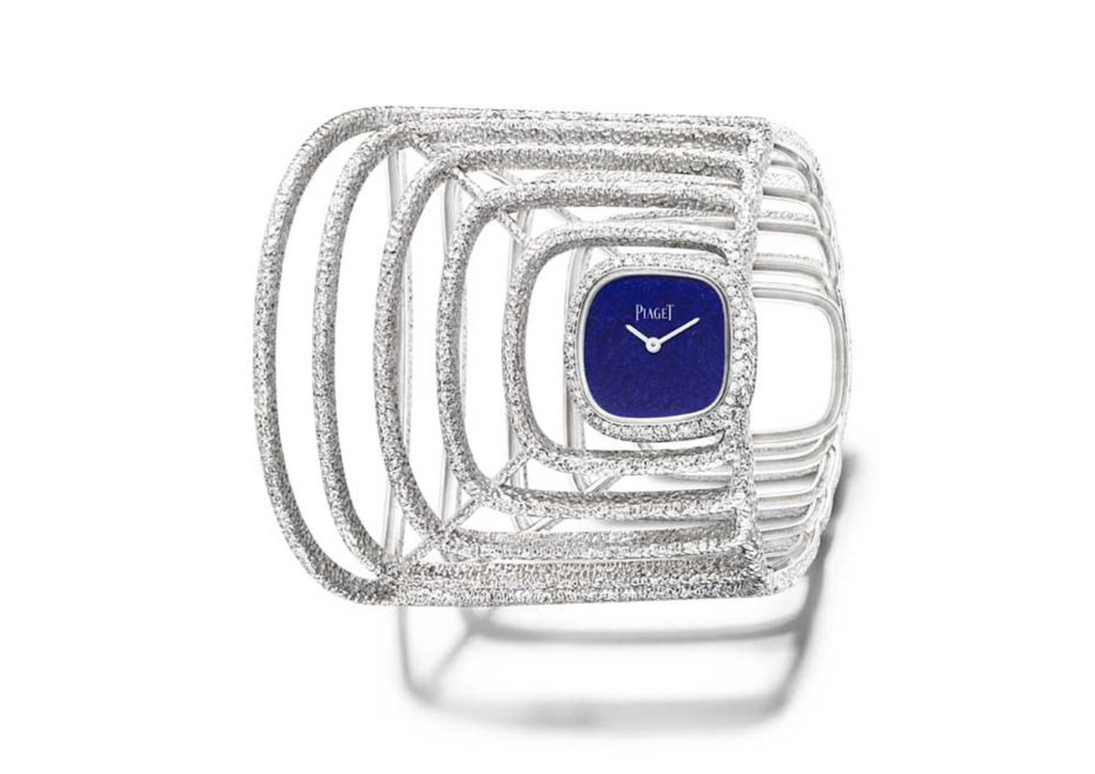 Piaget's Extremely Piaget collection watch cuff is made from hammered white gold and set with 236 brilliant-cut diamonds and a natural lapis lazuli dial.