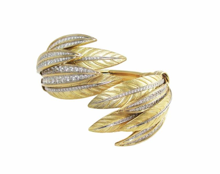 Verdura's 75th Anniversary Collection gold and diamond Feather bracelet was crafted from the same jewellery mold as the Indian Headdress Tiara made for Betsy Whitney in 1956.