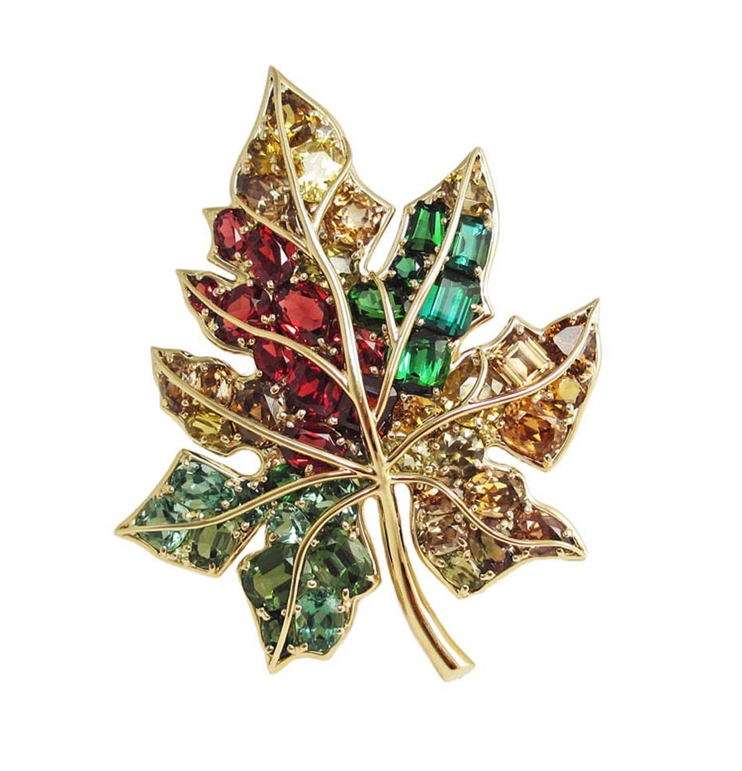 The 75th Anniversary Collection Verdura Leaf brooch was inspired by Verdura's first trip to America, where the legendary designer was immediately inspired by the vibrant coulored leaves of autumn.