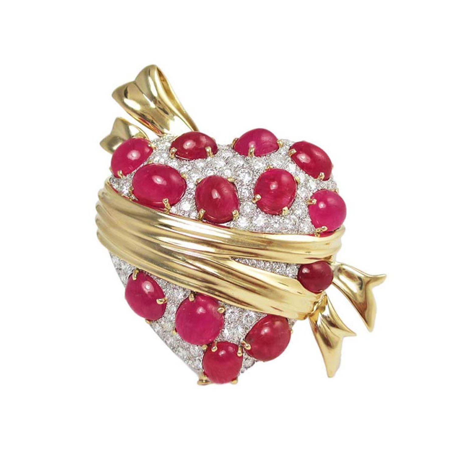 Verdura Sashed Heart brooch, set with rubies and diamonds in gold, was first commissioned by Tyrone Power for his wife Anabella in 1941 and has been recreated to celebrate Verdura's 75th anniversary.