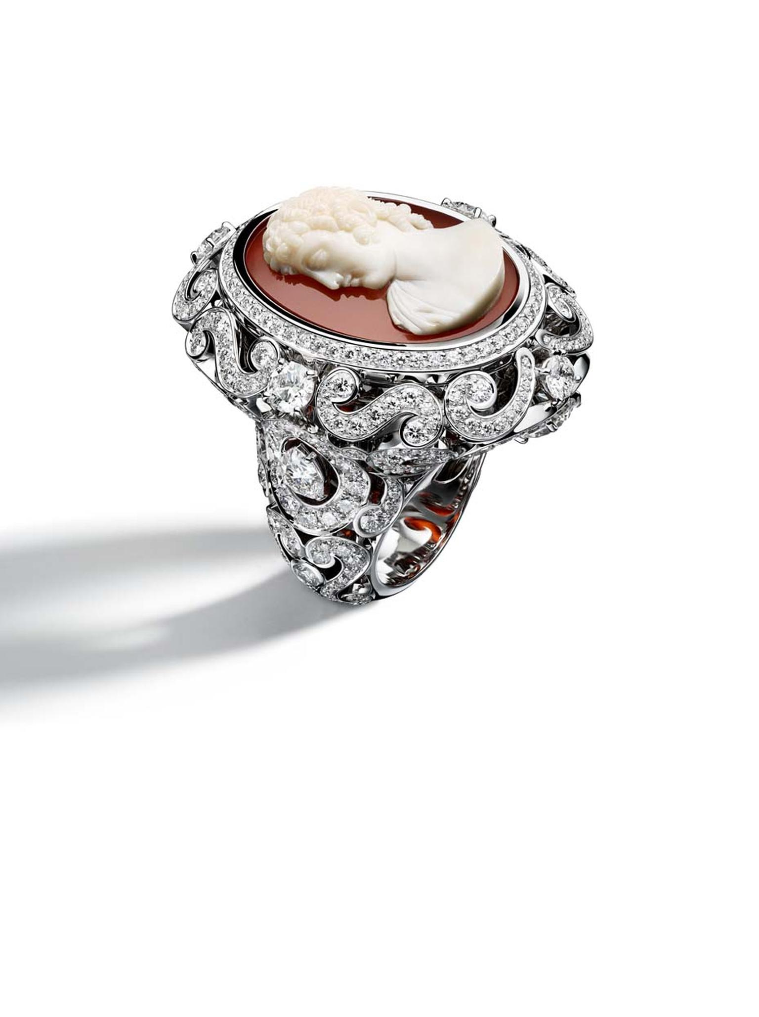 Giampiero Bodino Cameo ring in white gold featuring a chalcedony cameo and diamonds. Image by: Laziz Hamani