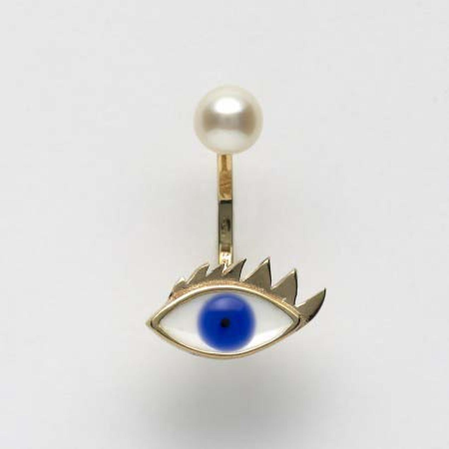 Delfina Delettrez Eye And Pearl single earring with enamel in yellow gold (£335 at Dover Street Market).