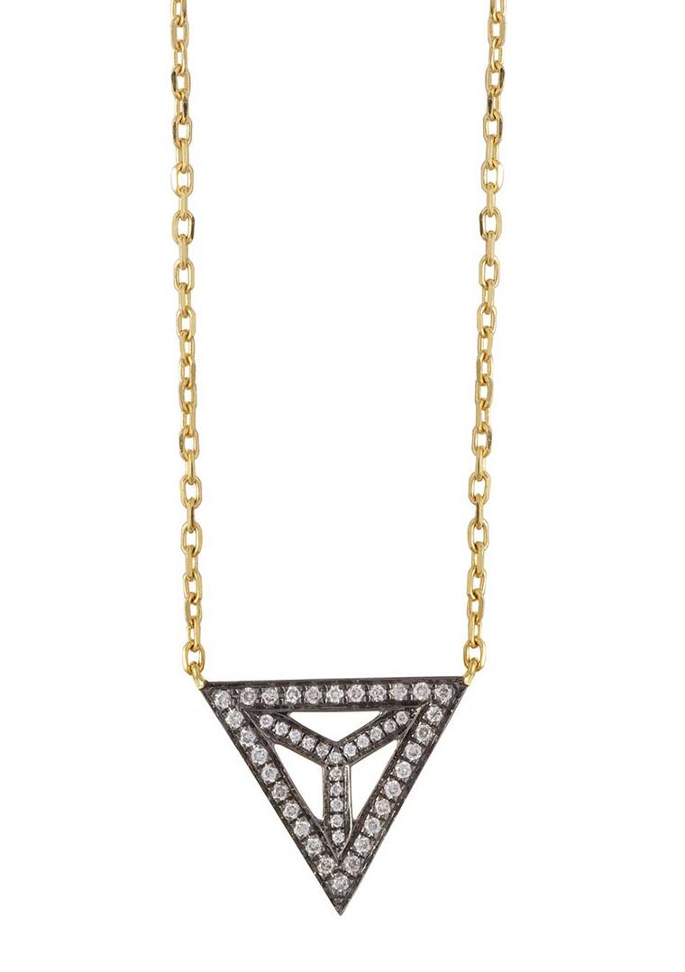 Noor Fares Tetrahedron necklace in yellow gold with white diamonds.