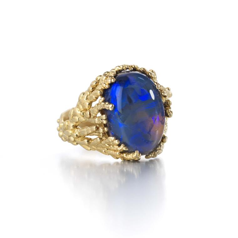 Ornella Iannuzzi Coral Atoll ring in yellow gold, set with a black crystal Australian opal.