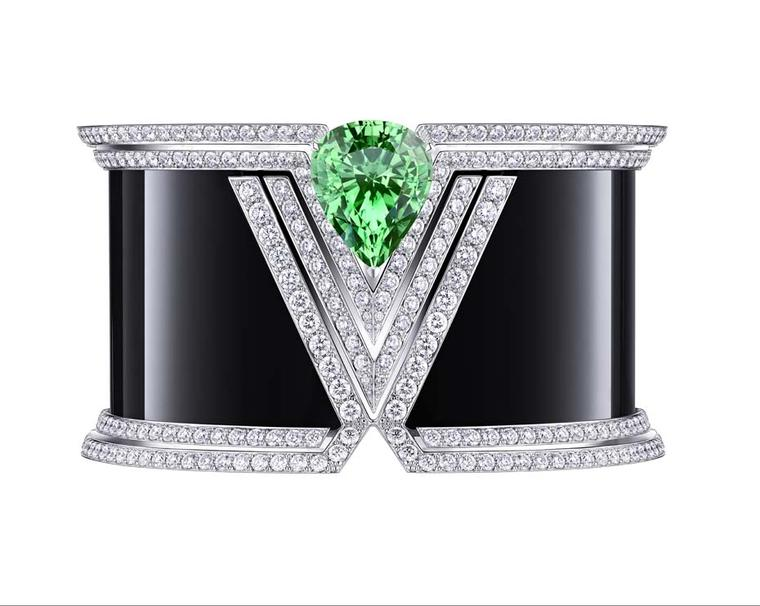 Louis Vuitton Acte V Apotheosis cuff featuring black onyx, diamonds and a pear-shaped tsavorite.