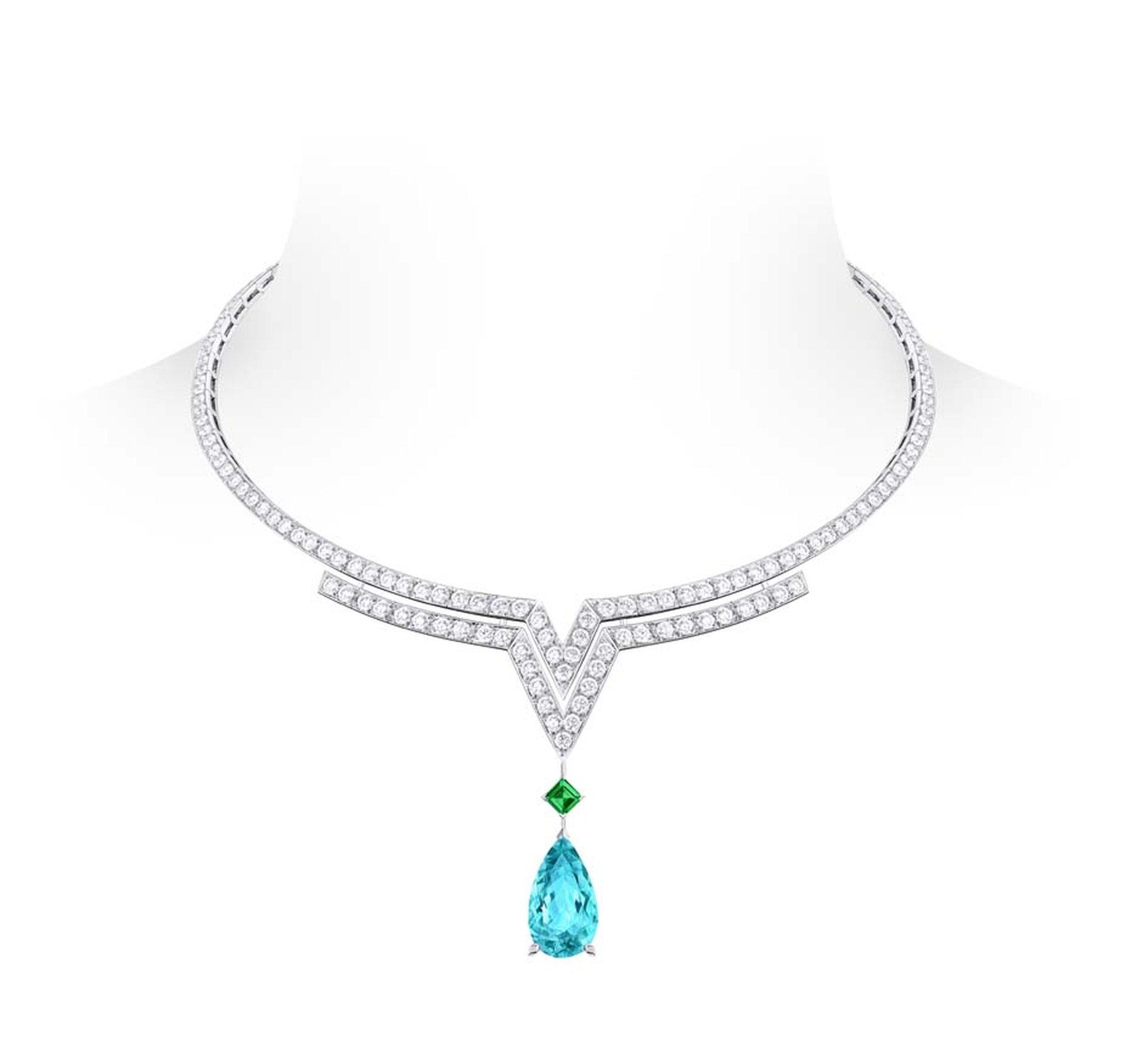 Louis Vuitton Acte V Apotheosis necklace featuring diamonds, an emerald and a pear shaped tourmaline.