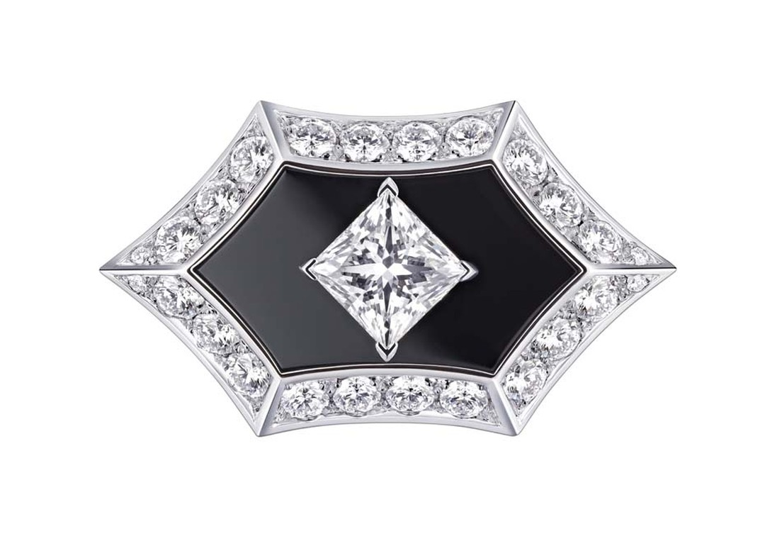 Louis Vuitton Acte V Genesis ring featuring black onyx and diamonds.