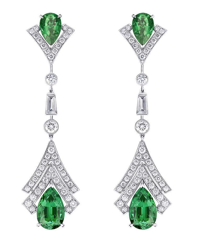 Vuitton Acte V Metamorphosis earrings featuring diamonds and emeralds.