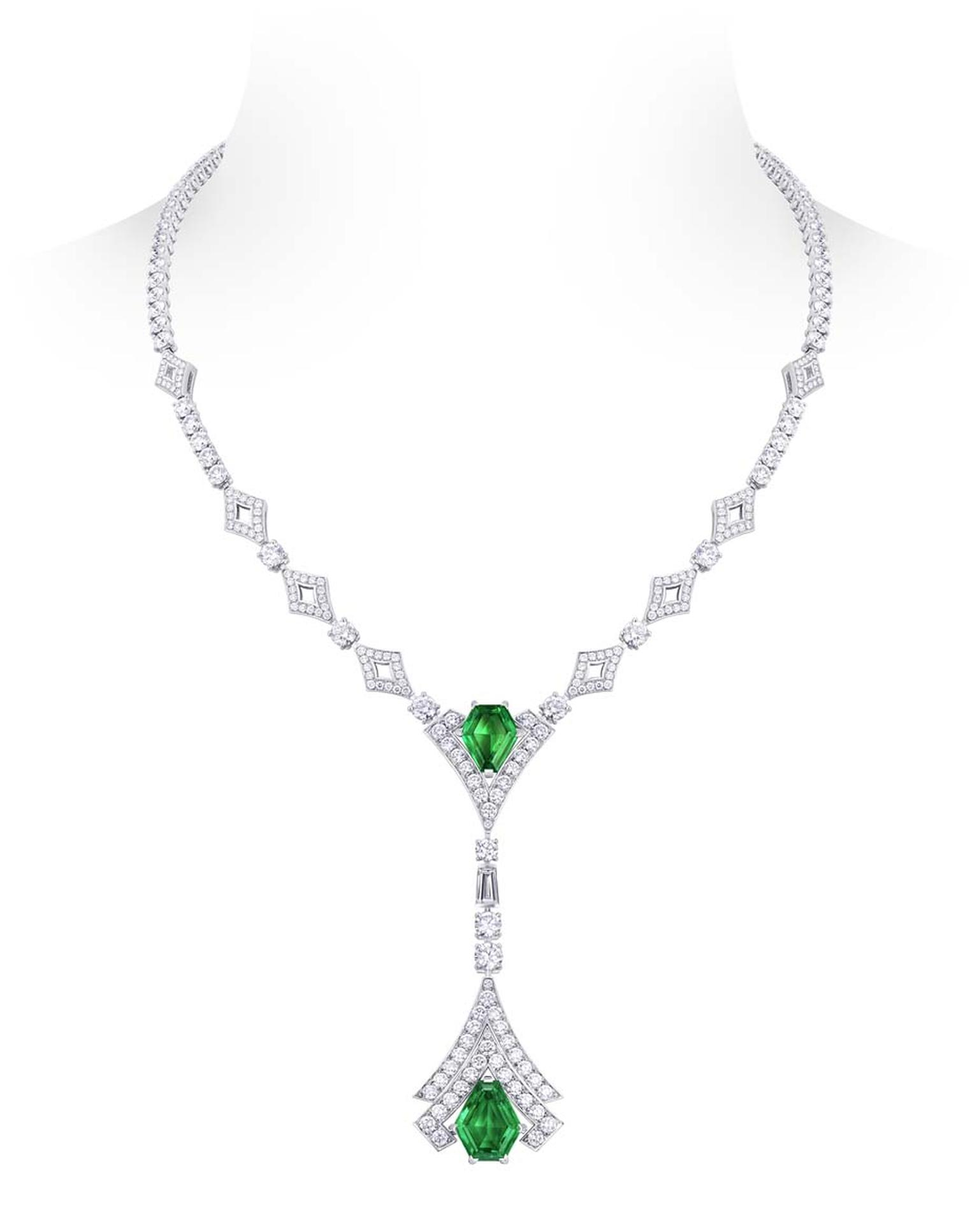 Louis Vuitton Acte V  Metamorphosis necklace featuring Pandjshir emeralds and diamonds.