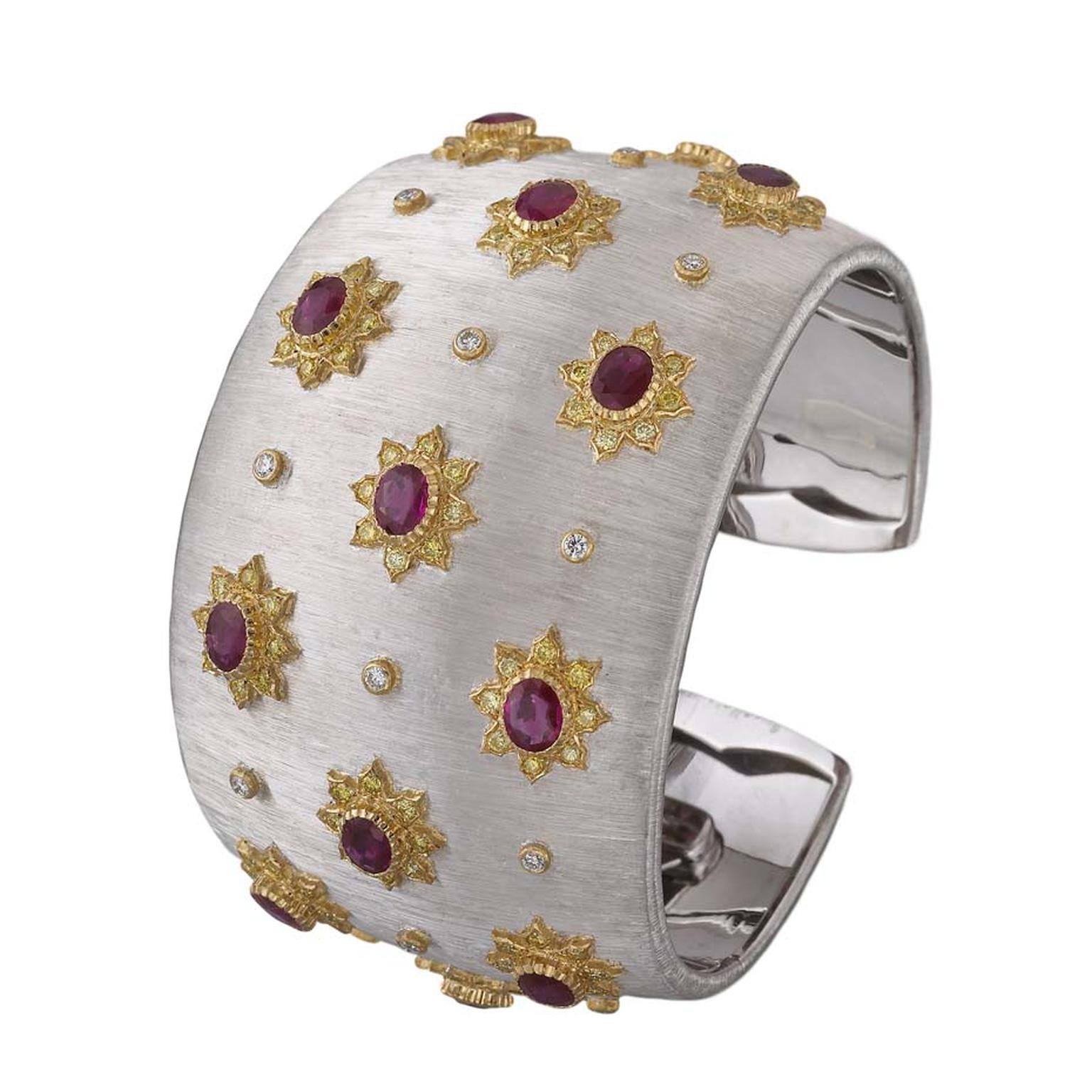 Buccellati Lastra cuff featuring brilliant and fancy cut diamonds and 7ct of oval rubies.