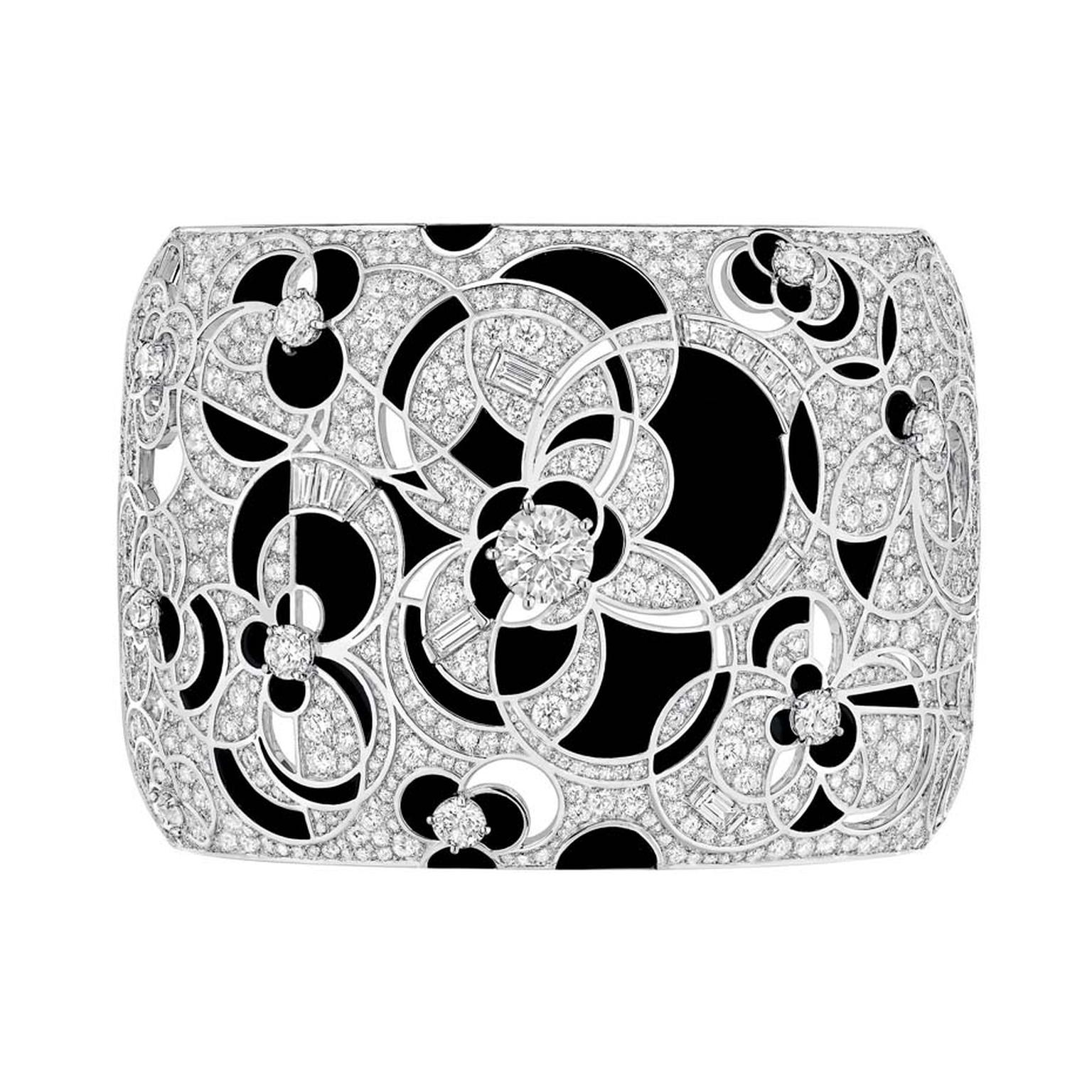 Chanel Midnight cuff featuring black onyx and diamonds.