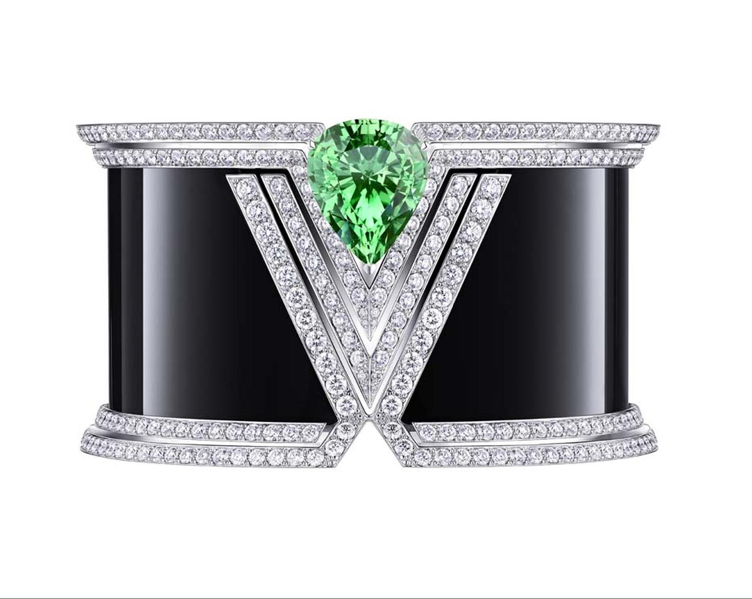 Louis Vuitton Acte V collection cuff featuring black onyx, diamonds and a pear-shaped tsavorite.