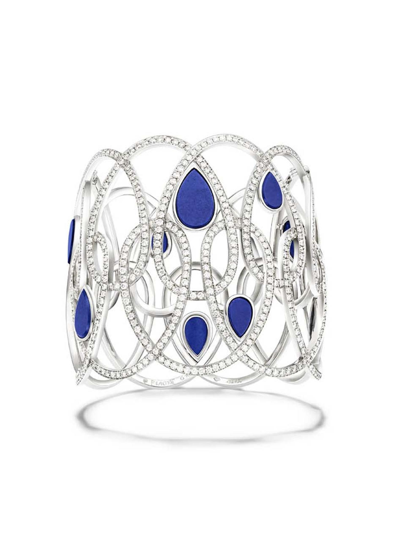 Piaget Extremely Piaget collection white gold bracelet set with 870 brilliant-cut diamonds and nine lapis lazuli cabochons.