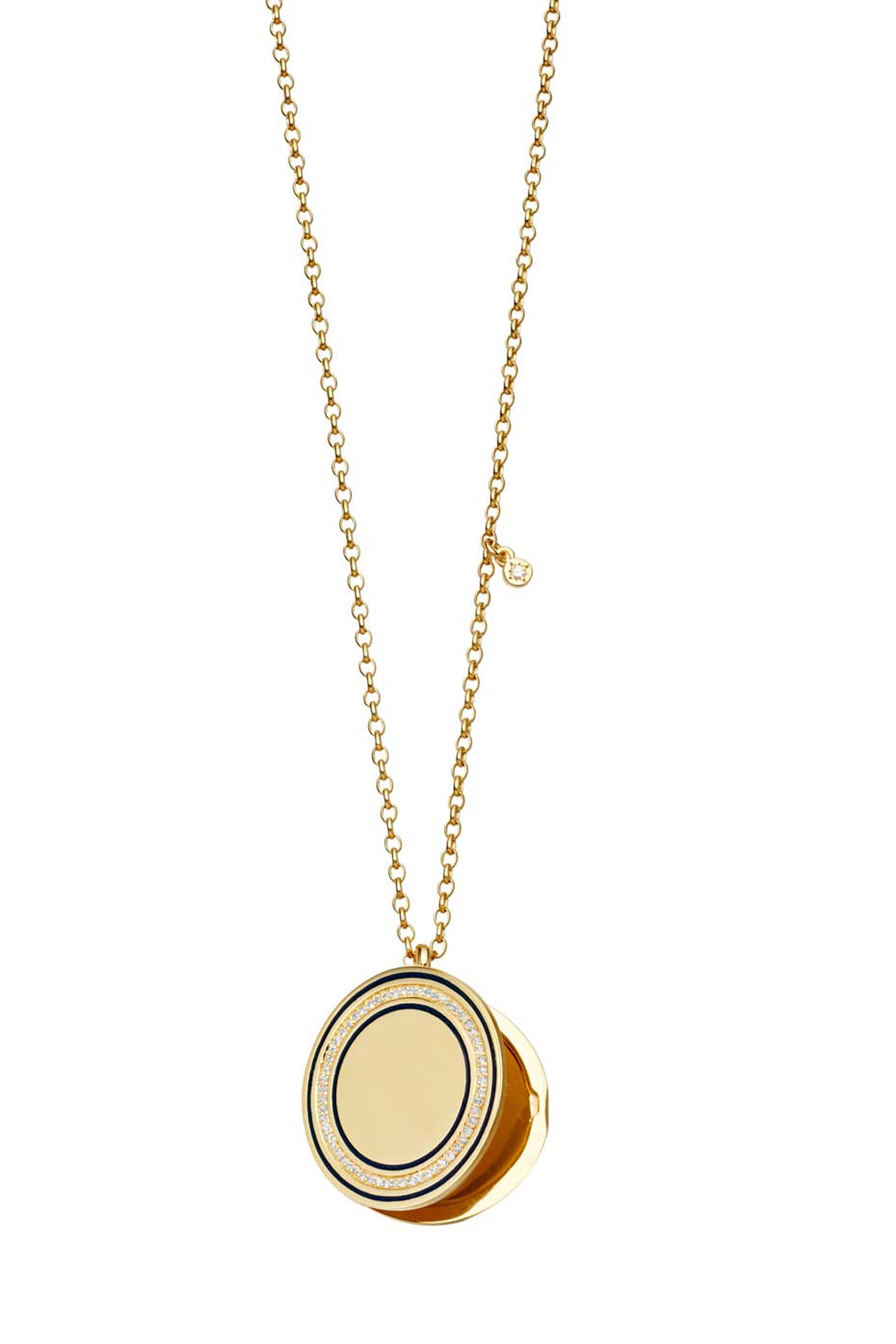 Astley Clarke Giant Midnight Cosmos locket in yellow gold with diamonds (£1,950).