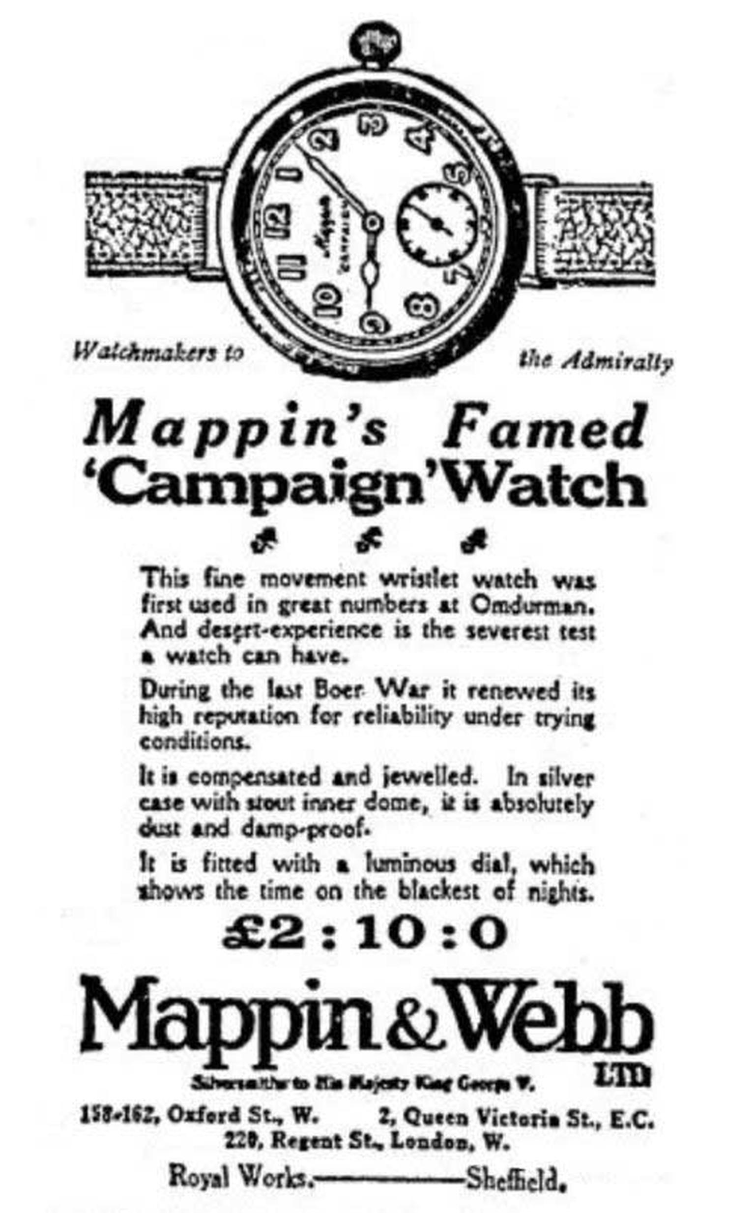Mappin & Webb Campaign watch ad dating from 1915