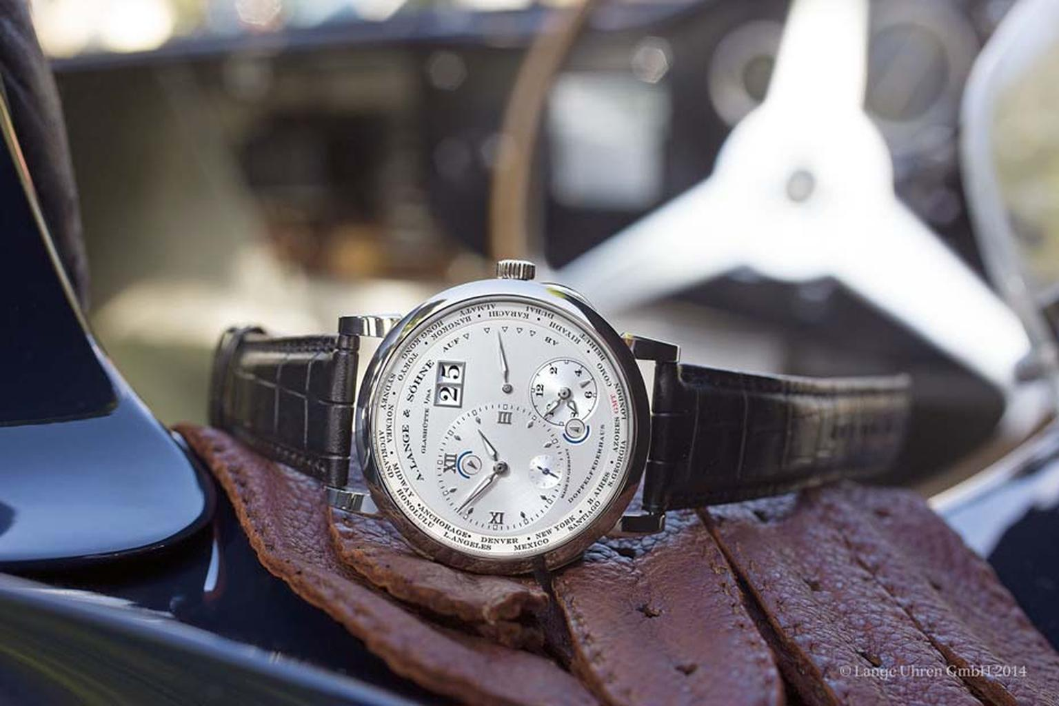 For the last three years, A. Lange & Söhne has offered a unique watch to the owner of the winning car at the Concorso d'Eleganza car show. In 2014, the prize was the Lange & Söhne Concorso d'Eleganza 1 Time Zone watch in white gold.