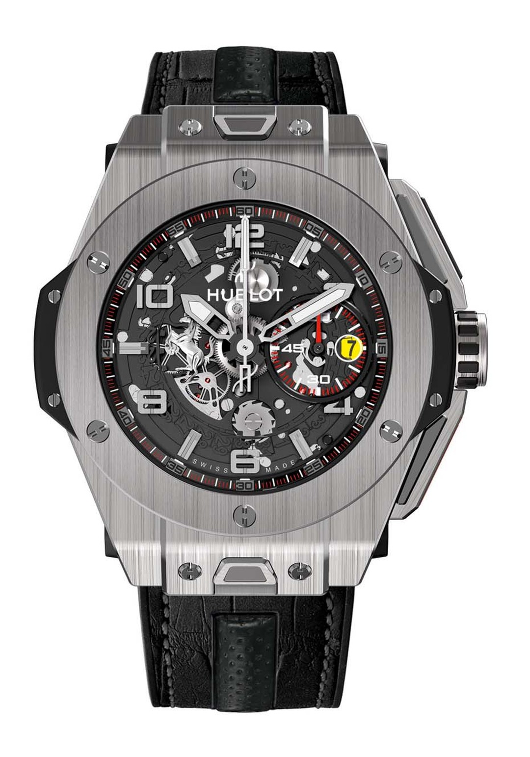 Hublot's collection of Big Bang Ferrari watches feature a strap change system that is inspired by the safety belts in Ferrari sports cars.