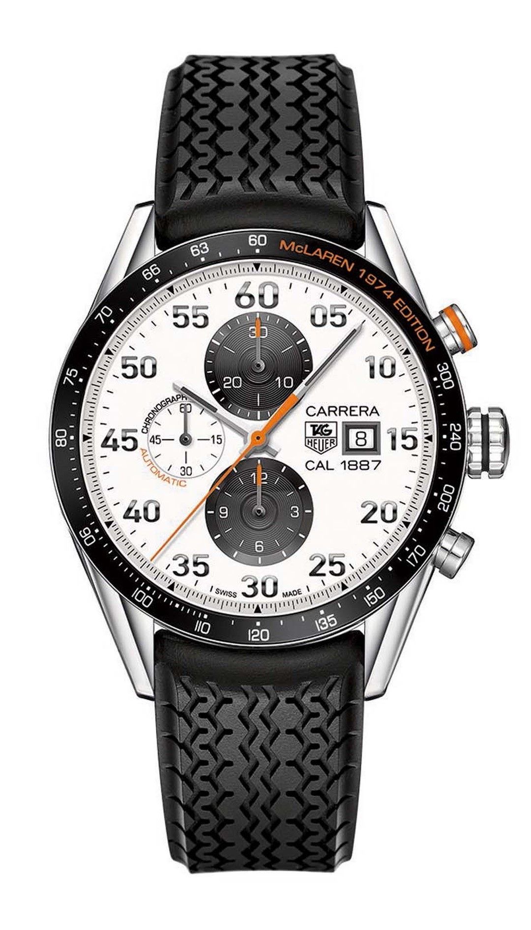 The TAG Heuer 43mm Carrera CH 1887 McLaren 1974 Edition celebrates a decade of McLaren watches and marks the 30th anniversary of its F1 partnership.