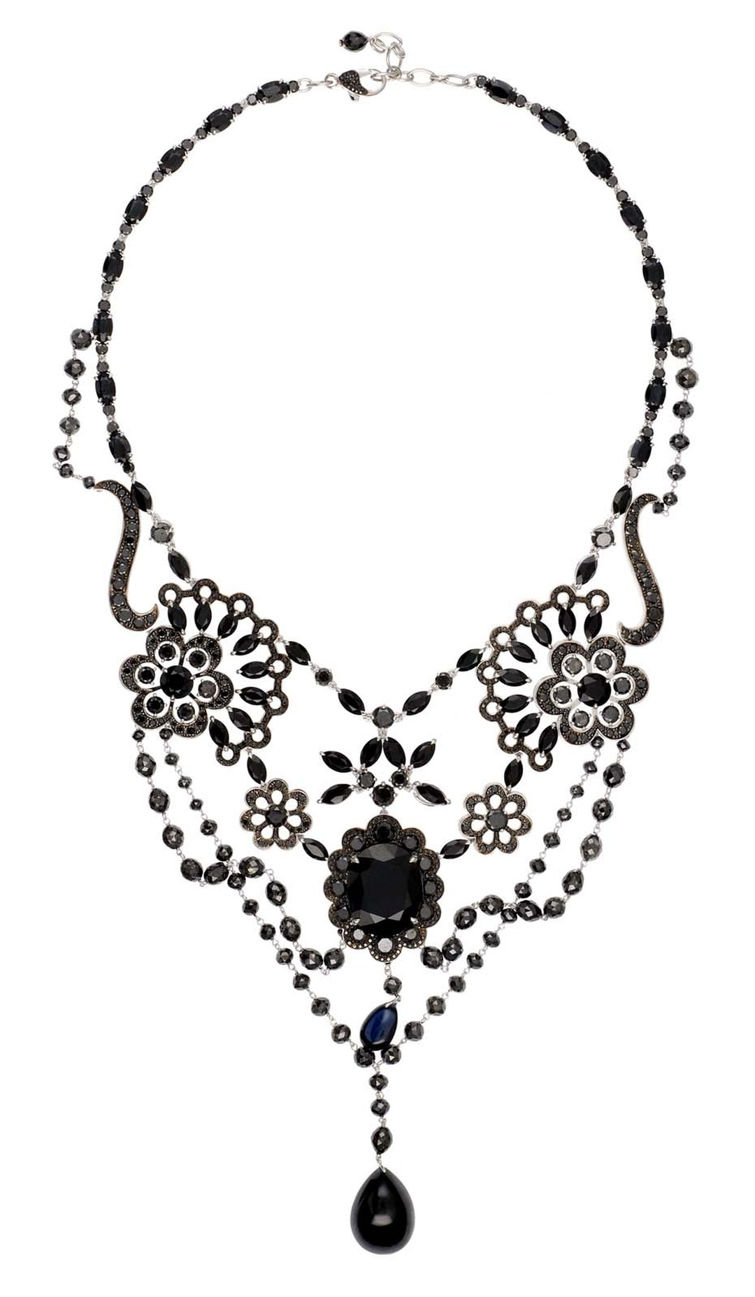 Chopard Red Carpet Collection necklace with black diamonds, sapphires and spinels set in white gold (£POA).