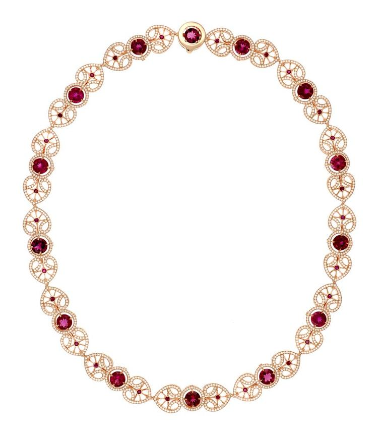 Chopard Red Carpet Collection necklace featuring rubellites, rubies and diamonds set in rose gold (£POA).