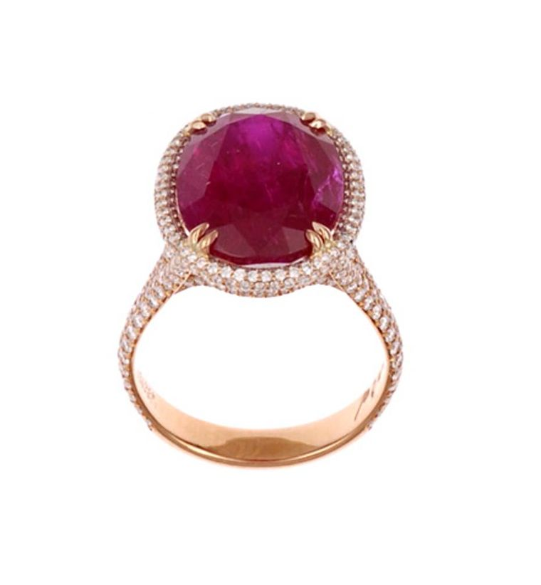 Chopard Red Carpet Collection ring with a central 11ct oval-shaped ruby set in rose gold and diamonds (£POA).
