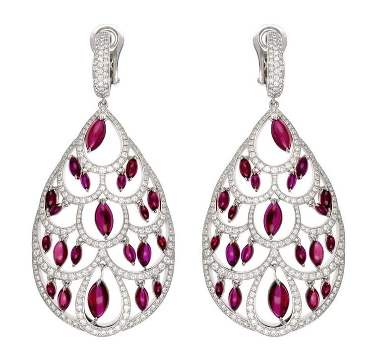 Chopard Red Carpet Collection earrings with cabochon rubies surrounded by diamonds, set in white gold (£POA).