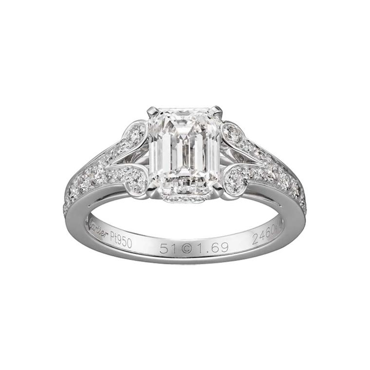 Ballerine emerald-cut diamond engagement ring