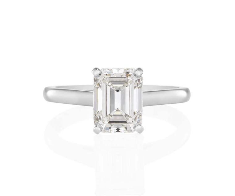 Classic Solitaire emerald-cut diamond engagement ring