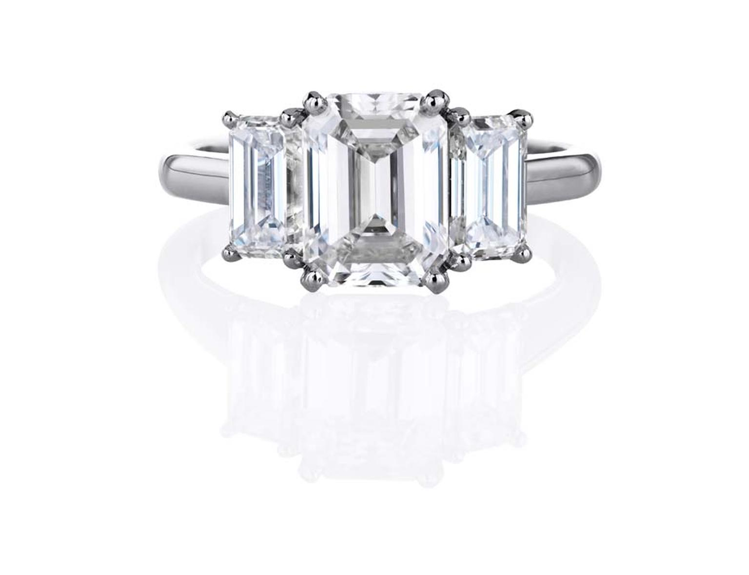 De Beers Classic Trio emerald-cut diamond engagement ring
