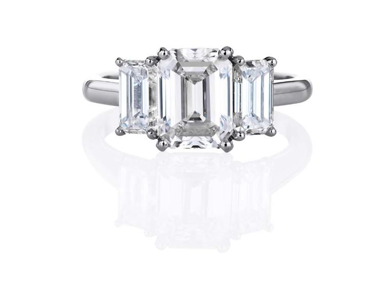 DB Classic Trio emerald-cut diamond solitaire ring