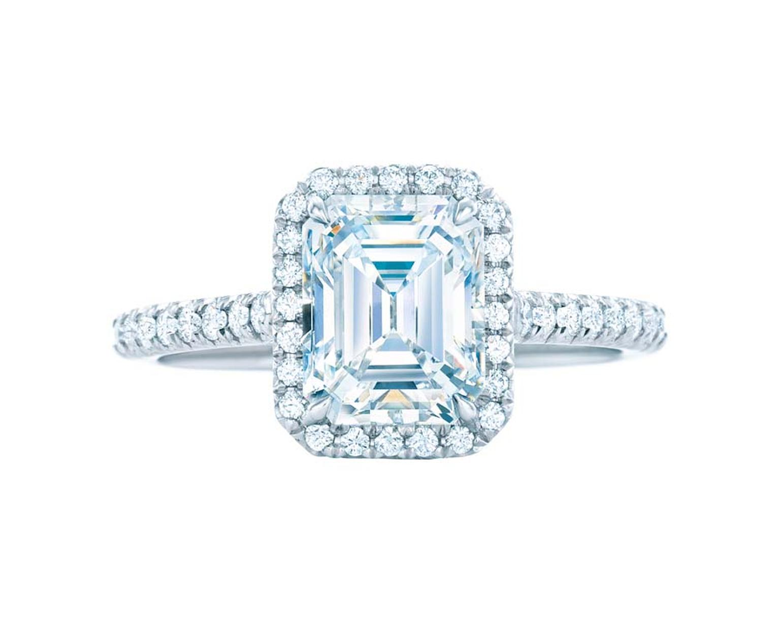 Tiffany Soleste emerald-cut diamond engagement ring featuring bead-set diamonds surrounding the central diamond and encircling the band