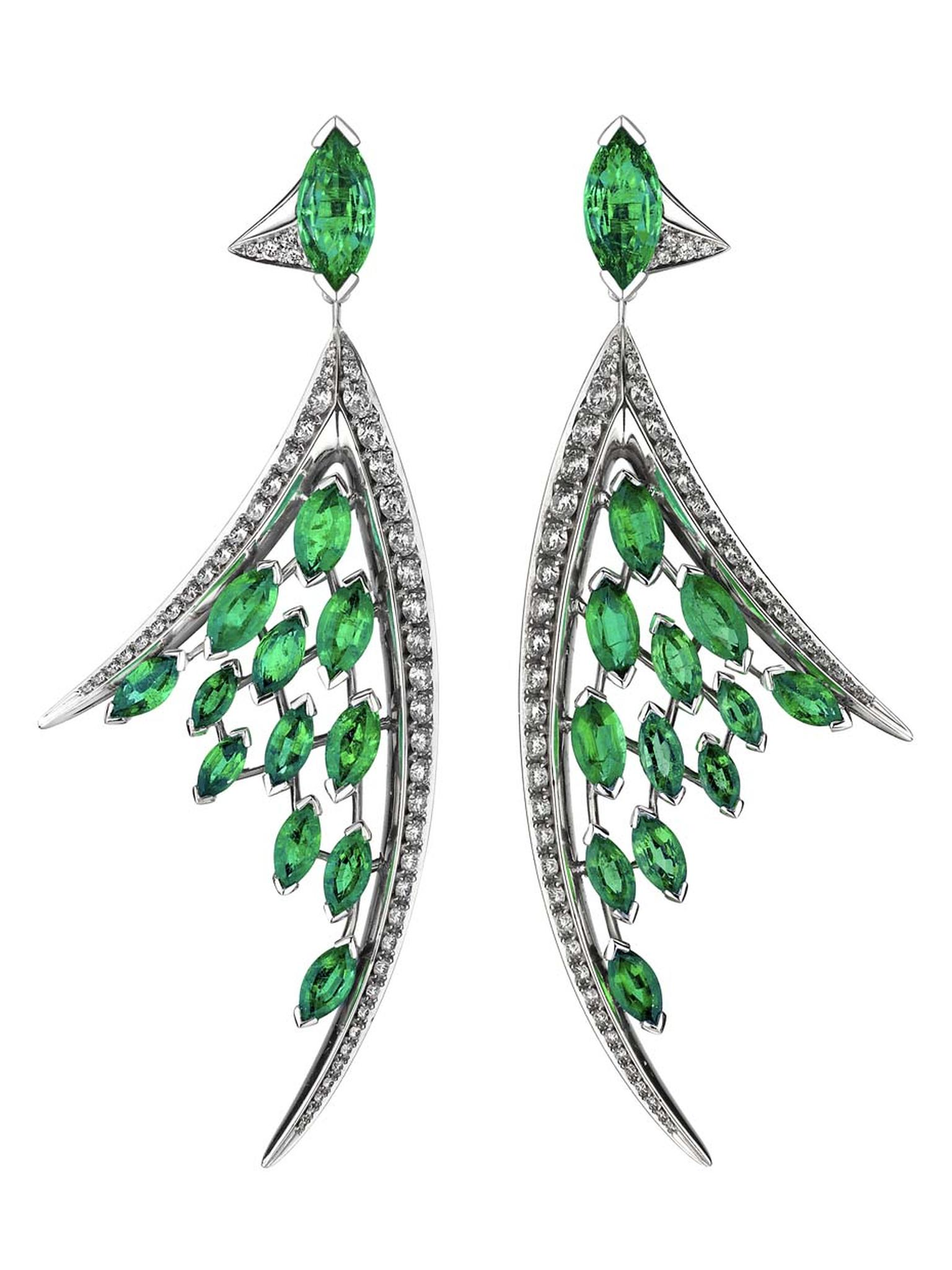 Shaun Leane Aerial collection white diamond and marquise-cut emerald earrings (£27,950.00).