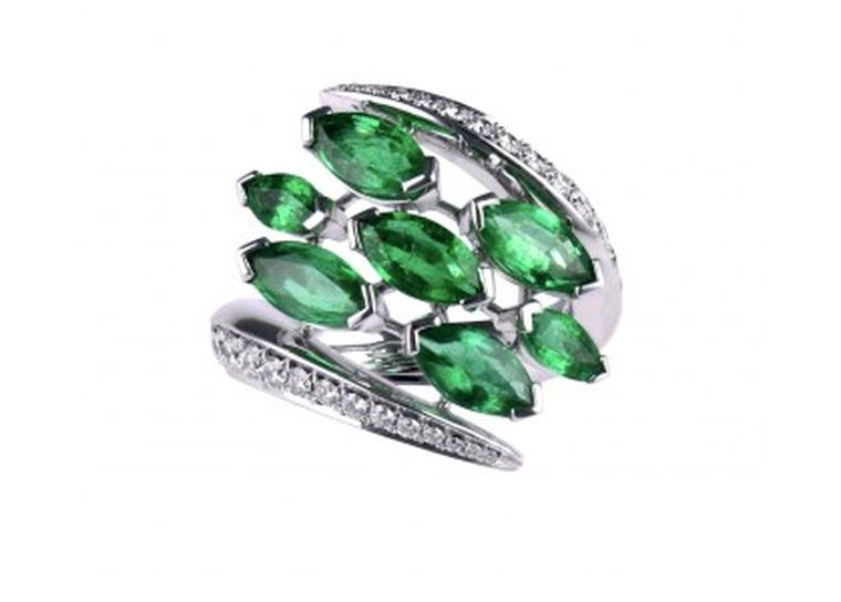 Shaun Leane Aerial collection white diamond and emerald Crossover ring (£14,750.00).