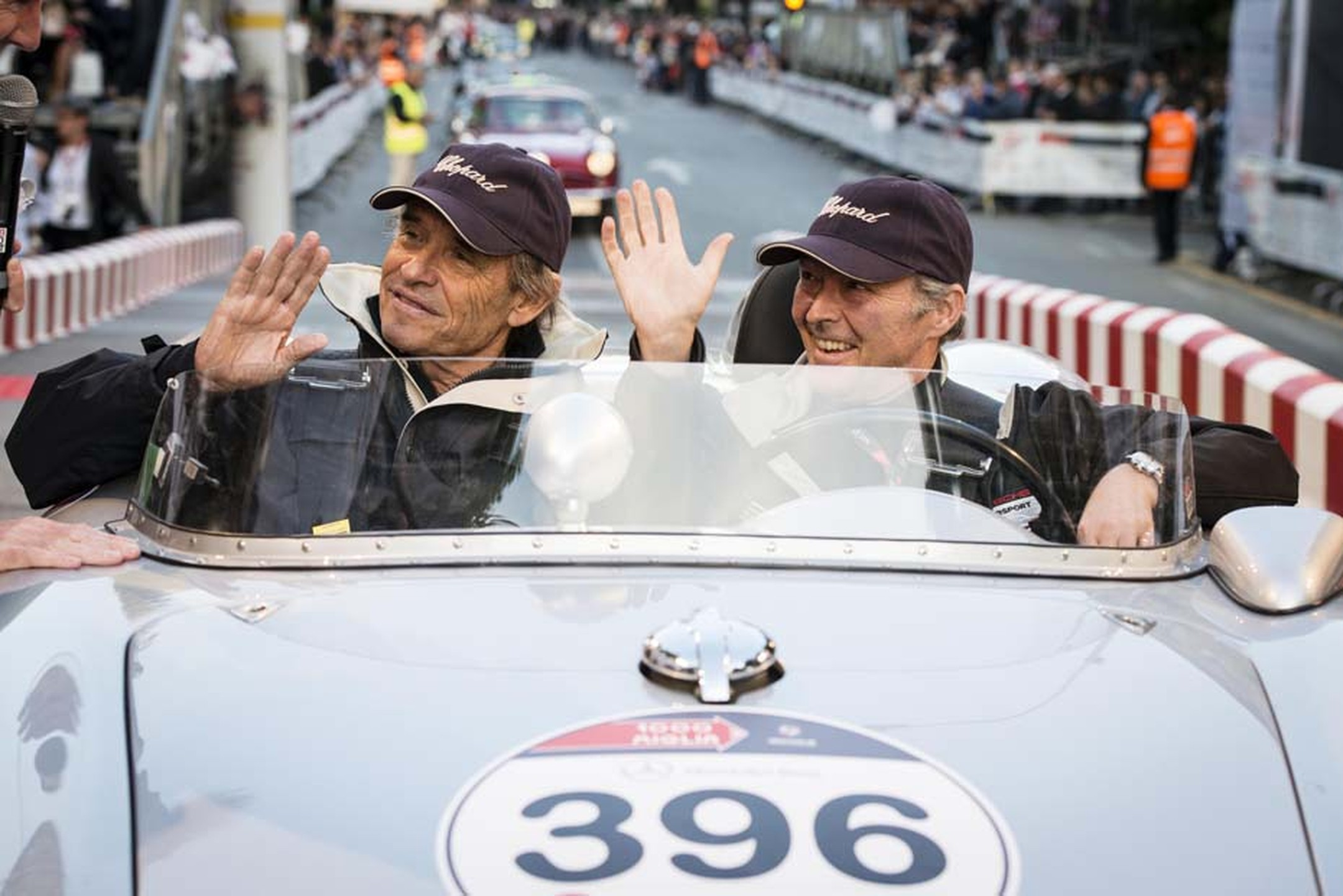 This year, owner of Chopard, Karl Scheufele III, and his good friend, the racing car phenomenon Jacky Ickx, took turns at the wheel of a Porsche 550A Spyder RS during the Mille Miglia.