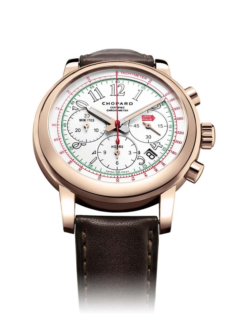 The 2014 Chopard Mille Miglia Chronograph watch in rose gold honours the Italian race by incorporating the colours of the Italian flag with green, white and red details on the dial.