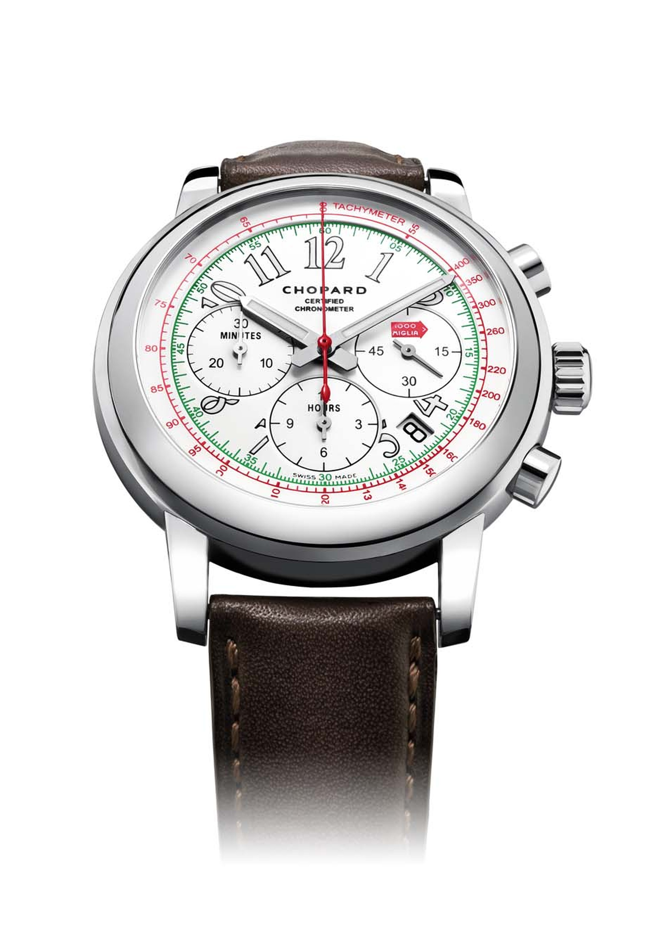 The 2014 Chopard Mille Miglia Chronograph is also available in stainless steel.